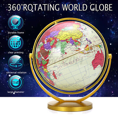 720° Rotating Earth Globe World Map W/Stand Geography Educational Kid Room Decor • 11.98£