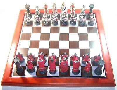 Game Chess & Draughts Set With Full / Complete Knights Templars And Crusaders • 160.20£