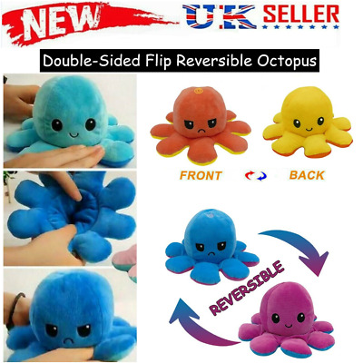 Cute Double-Sided Flip Reversible Octopus Plush Toys Funny Animals Doll Gift UK • 5.99£