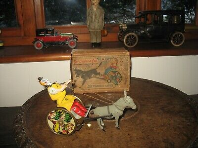 1890's ANTIQUE BOXED LEHMANN COMICAL CLOWN BALKY MULE TINPLATE GERMANY TIN TOY  • 390£