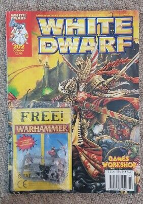 Vintage White Dwarf Magazine Issue #202, Oct 1996. W/ 2x Free Figures Included • 14.95£