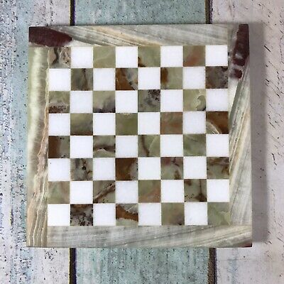 Vintage Marble Onyx Thick Chess Board Only 20cm X 20cm • 49.99£