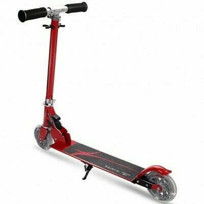Folding Aluminum Kids Kick Scooter With LED Lights-Red  • 30.99£