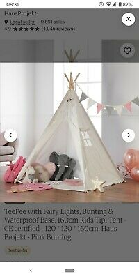 Haus Projekt Kids Teepee With Fairy Lights And Bunting • 10£