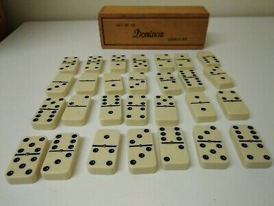Vintage Old Set Of White Dominoes Full Set Of 28 Central Spinning Pin With Box  • 14.95£