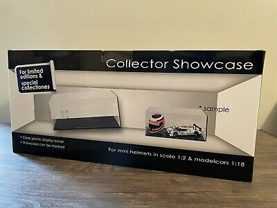 Display Showcase For Mini Helmet In 1/2 Scale And F1 Model Car In 1/18 Scale • 60£