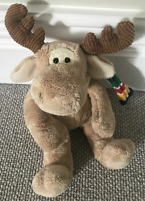 VERY RARE!!  Plush Moose With Famous Hudson Bay (HBC Canada) Stripe Scarf • 12.80£
