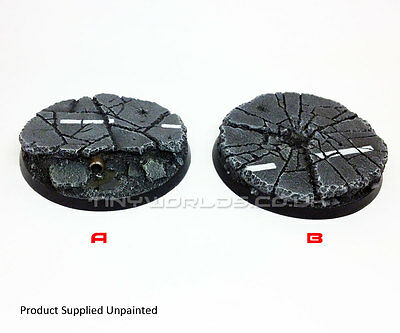 60mm Round Urban Rubble Resin Bases Warhammer 40K Concrete City - Choose Style • 9.99£
