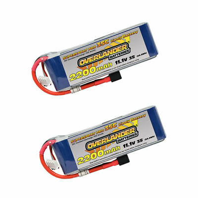 Overlander Supersport LiPo Flight Battery 2200mAh 3S 11.1v 35C Deans TWIN PACK • 41.99£