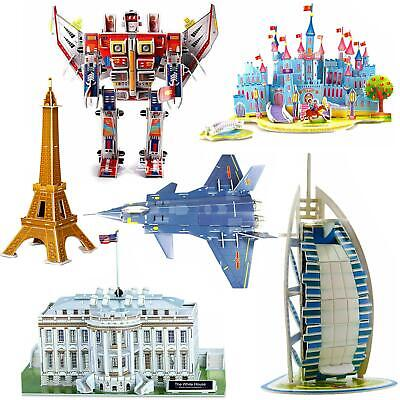 3D Puzzles Jigsaws Of Eiffel Leaning Tower Bridge Transformers Opera White House • 6.99£