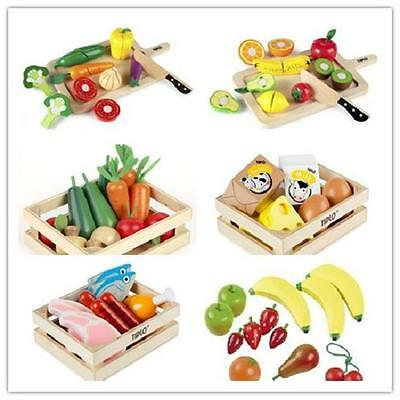 New Educational Wooden Play Food Toys Fruits Vegetables Salad Meat Fish In Crate • 11£