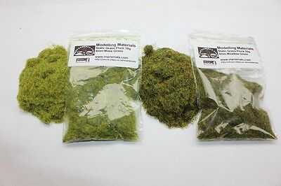 Static Grass 4mm Twin Pack - Moss/Meadow Green - Grass Flock First Class P&P • 3.45£