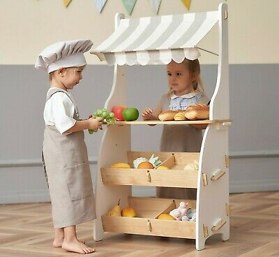 Kids Play Shop Wooden Pretend Play Grocery Store Freestand Mart By Hooga • 76.99£