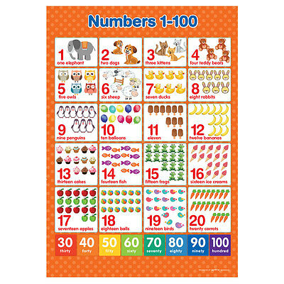 A3 Numbers 1-100  Poster Maths Wall Chart • 3.50£
