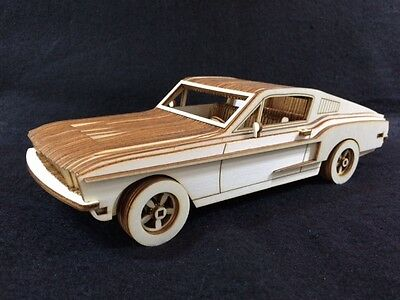 Laser Cut Wooden Ford Mustang 3D Model/Puzzle Kit • 25.99£