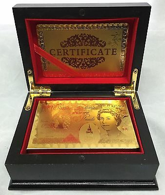 24K Gold Plated Playing Cards Poker Game Deck Wooden Gift Box 99.9% Certificate • 8.49£