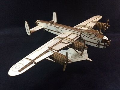 Laser Cut Wooden WW2 Lancaster Bomber 3D Model/Puzzle Kit • 25.99£