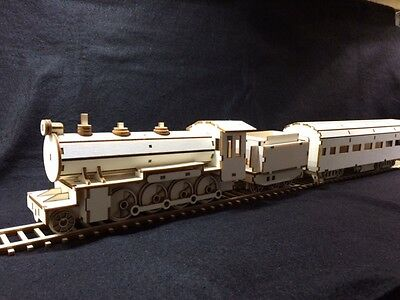 Laser Cut Wooden Steam Train And Passenger Carriage 3D Model/Puzzle Kit • 29.99£