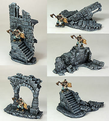 'ruined Battlements Pack' - Fantasy Terrain - Painted To Collector's Standard • 45£