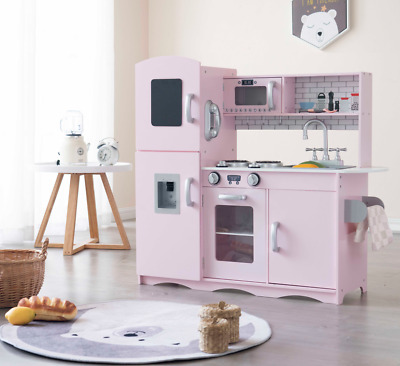 Wooden Kids Play Kitchen Children's Role Play Pretend Set Sounds And Lights Pink • 85.99£