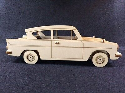Laser Cut Wooden Ford Anglia (Harry Potter Car) 3D Model/Puzzle Kit • 34.99£