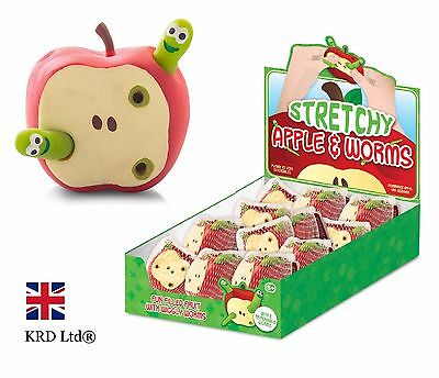 STRETCHY APPLE & WORMS Fiddle ADHD Autism Stress Relief Toy Kids Birthday Gift  • 5.95£