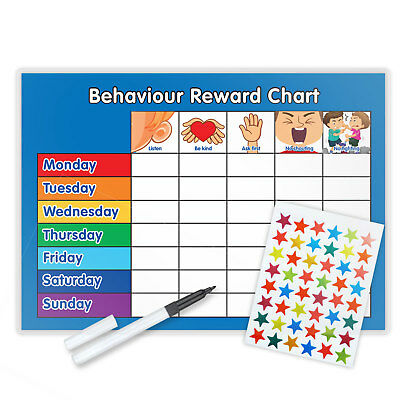 Behaviour Reward Chart Magnetic Available With Free Pen & Star Stickers - B • 5.50£