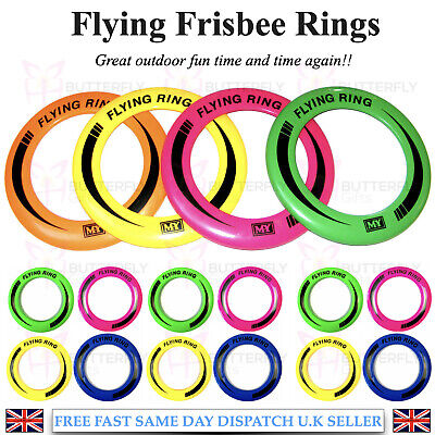 10  Neon Flying Ring Disc Frisbee Flyer Adult Kids Family Outdoor Play Toy New • 4.95£