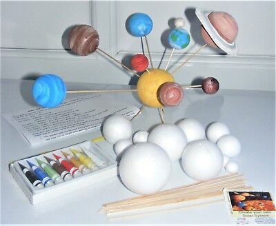 Make Your Own SOLAR SYSTEM 12 Polystyrene Balls 2 To 7cm 10 Rods 8 Paints & Ring • 8.95£