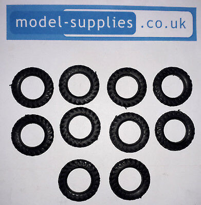 Matchbox Reproduction Hard Black Plastic Tyres 22mm O/D 50 & 72 Tractor Rear • 1.11£