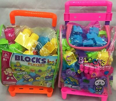 Children--65-pcS-Kid-Educational-Plastic-Building-Blocks Bricks Toy TROLLEY UK • 9.99£