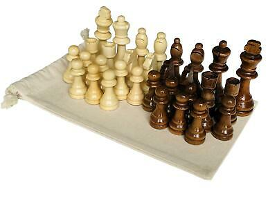 Premium 32 Piece Wooden Carved Large Chess Pieces Hand Crafted Set 9cm King • 12.99£