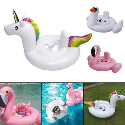 Kids Baby Inflatable Flamingo Unicorn Swim Ring Float Raft Seat Swimming Pool UK • 6.39£