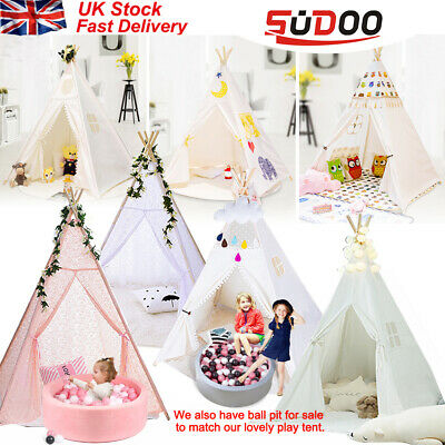 SUDOO Children Kids Wigwam Teepee Play Tent Game Playhouse Foldable In/out Door • 31.98£