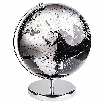 Exerz Educational Swivel World Globe Metallic Black Dia 14CM 20CM 25CM 30CM • 24.99£