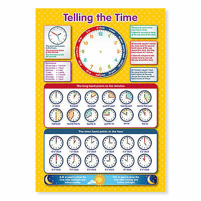 A4 Laminated Tell The Time Wall Chart • 2.95£