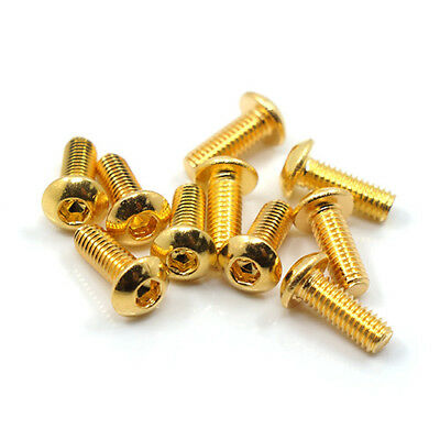 Yeah Racing 24K Gold Plated Screws M3 Countersunk & Button Head RC Bling!!!! • 5.95£