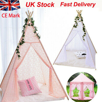 New Large Kids Teepee Play Tent Wooden Playhouse  Pink White Lace  Out / Indoor • 28.99£