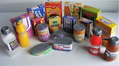 Pretend Play Groceries ~ 18 Toy Food Cartons Cans & Drinks In Tub Role Play Shop • 12.95£