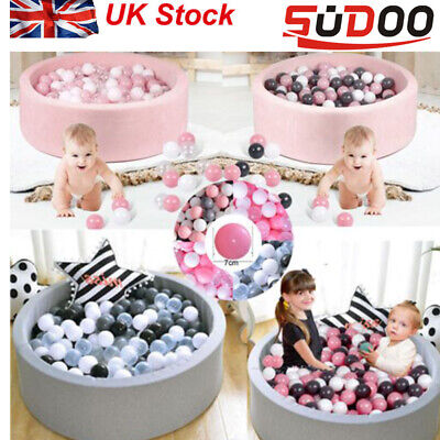 SUDOO Soft Baby Ball Pit Foam Paddling Pool Pit 90x30 With 200 Balls Grey/pink  • 35.98£