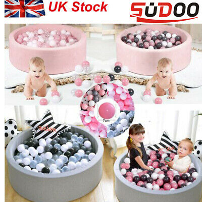 SUDOO Soft Baby Ball Pit Foam Paddling Pool Pit 90x30cm With 200Balls Grey/pink  • 49.99£