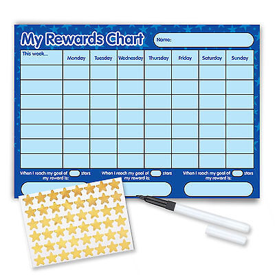 Behaviour Reward Chart (including FREE Pen And Stickers) - Blue Stars • 3.50£