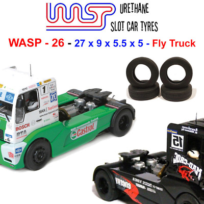 Urethane Slot Car Tyres X 4 Wasp 26 Fly Racing Trucks Front Rear • 6£