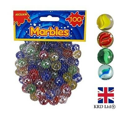 100 X GLASS MARBLES Coloured Marble Clear Kids Toys Vintage Traditional Games UK • 5.05£