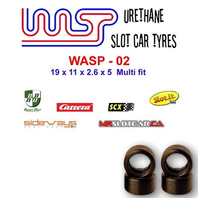 Urethane Slot Car Tyres X 4 Wasp 02 19 X 11 X 2.6 X 5 Multi Brand Fit • 6£