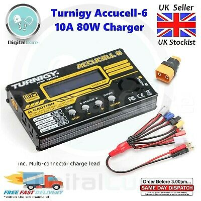 Turnigy Accucell-6 10A 80W Lipo LiFe LiHV Battery Charger + Multi Lead RC • 42.95£