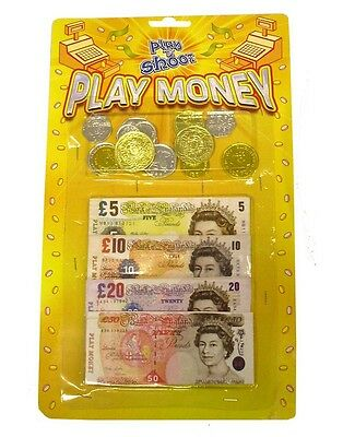 PLAY MONEY Fake Notes Coins Pounds Sterling £ Cash Pretend Role Play Shop Keeper • 2.49£