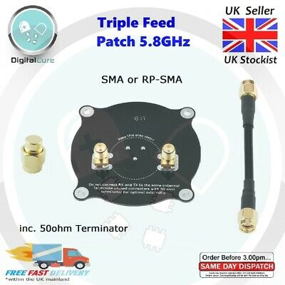 FPV Patch Antenna Triple Feed Hybrid 5.8GHz RHCP LHCP + Terminator – TBS Pagoda • 11.50£