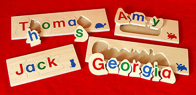Children's NAME JIGSAW PUZZLE 3-6 LETTER Personalised LEARN TO SPELL Wooden Toy • 10£