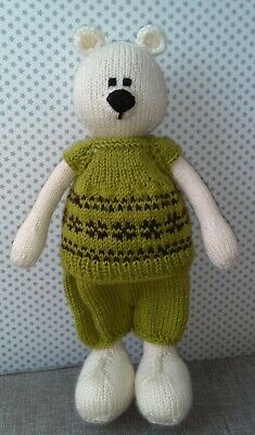 Hand Knitted Teddy Bear/knitted/soft Animal /soft Toy/stuffed Toy • 28£